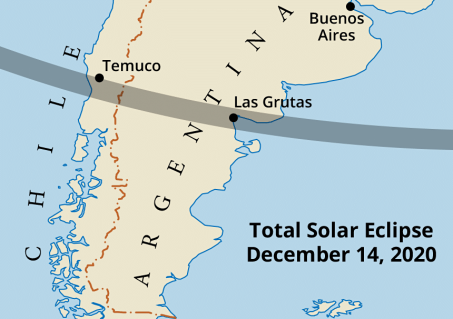 Path of totality across Chile and Argentina in 2020.