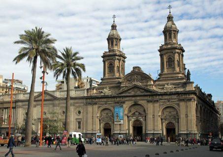 The cathedral in Plaza de Armas, Santiago, Chile.