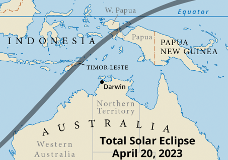 Path of totality west and north of Australia in 2023 (Map courtesy of Steven Simpson).