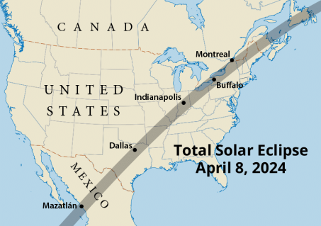 Path of totality across North America in 2024 (Map courtesy of Steven Simpson).