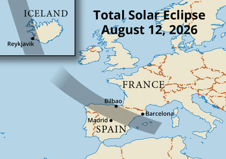 Path of totality across Iceland and Spain in 2026 (Map courtesy of Steven Simpson).