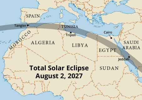 Path of totality across northern Africa in 2027 (Map courtesy of Steven Simpson).