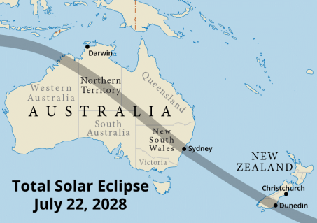 Path of totality across Australia and New Zealand in 2028 (Map courtesy of Steven Simpson).