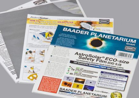 Baader AstroSolar Safety Film OD 5.0, available in 8x10 sheets, is easy to use to create homemade solar filters for cameras, binoculars, and telescopes.