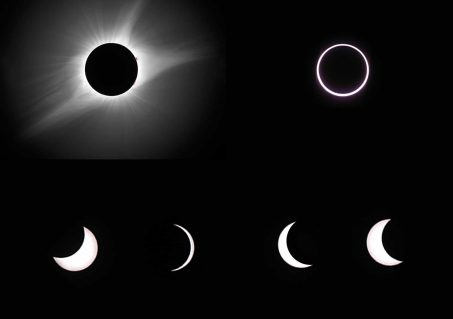 Images are of totality (upper left), annularity (upper right), and partial solar eclipses (Photos of totality and the partial phases by Rick Fienberg/TQ. Photo of annularity by Jay Anderson/TQ).