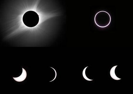 The images show totality (upper left), annularity (upper right), and partial solar eclipses. (Photos of totality and the partial phases by Rick Fienberg/TQ; photo of annularity by Jay Anderson/TQ)