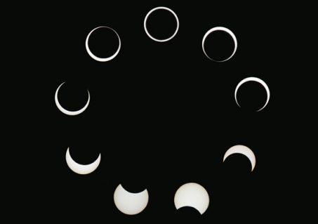 This collage of an annular eclipse runs clockwise from lower left, with the image of annularity at the top. (Photo by Judy Anderson/TQ)